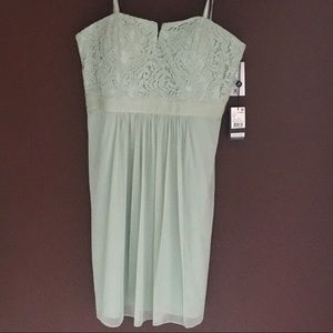 Adrianna Papell Mint Lace Strapless Cocktail Dress